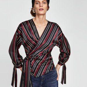 Zara Basic Satin Wrap Top Blouse Strip Sz.M